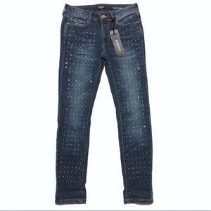 Bebe Rhinestone Jeans Heartbreaker Crop Blue Sz 26